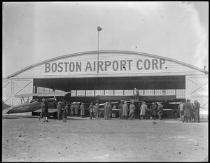 Planes in front of the Boston Airport Corp. hangar