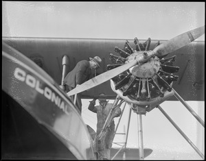 Bernt Balchen readying his plane for Viking disaster rescue