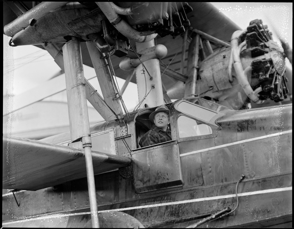 Bernt Balchen in his plane, soon to take off for Viking disaster rescue