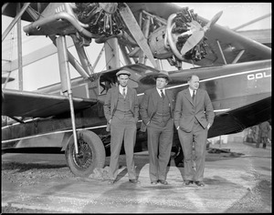 Bernt Balcher, Enslow and Cooper before flight to Horse Island, Newfoundland, to supply survivors of the Viking disaster.