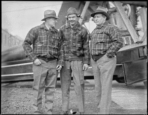 Bernt Balcher, Enslow and Cooper before flight to Horse Island, Newfoundland from East Boston to bring supplies to survivors of the Viking disaster