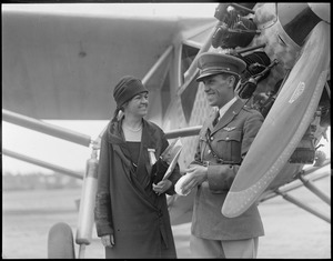 Mrs. Edith Nourse Rogers (congresswomen) and Capt. Emilo Carranza good will flier from Mexico at Lowell Airport