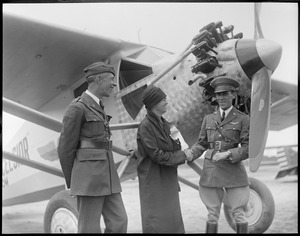 """Mexico's """"Lindy"""" - Captain Carranza and Mrs. Rogers at Lowell Airport"""