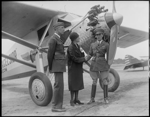 Lowell Airport, L-R: Major John N. Reynolds, Control Officer, Mrs. Edith Nourse Rogers, Congresswoman, and Capt. Emilio Carranza, good will flier from Mexico.