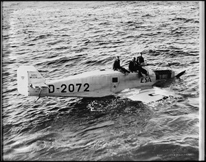 Monoplane Esa on which Johannsera, Willy Rody, and Fernando Costa Viega drifted for 158 hours off Newfoundland after being forced down in flight from Lisbon. SS Stavanger rescued them.