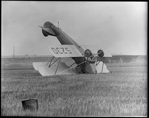 East Boston Airport: Travelair biplane hit a squall. Bob Goldberg was pilot and actress Maude Vesta was passenger. She got a good shaking up.