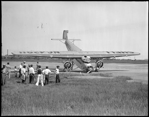 Shell oil plane nose down at East Boston Airport