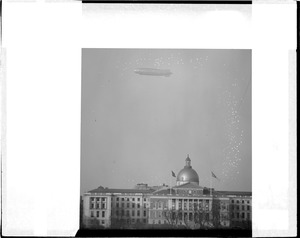 Airship Los Angeles over Statehouse Boston