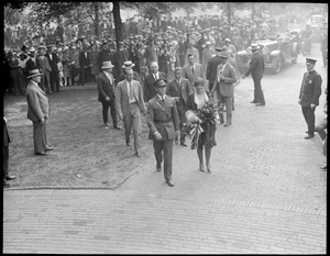 Friendship fliers arriving at the Parkman Bandstand in the Boston Common. Maj. Wooley in charge. Supt. Crowley at the left.