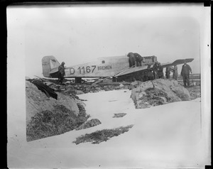 German junker Bremen lands on Greenly Island. Flow by Baron von Huenefeld, Capt. Koehl and Maj. James Fitzmaurice