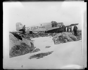 German plane Bremen on Greenly Island, Labrador