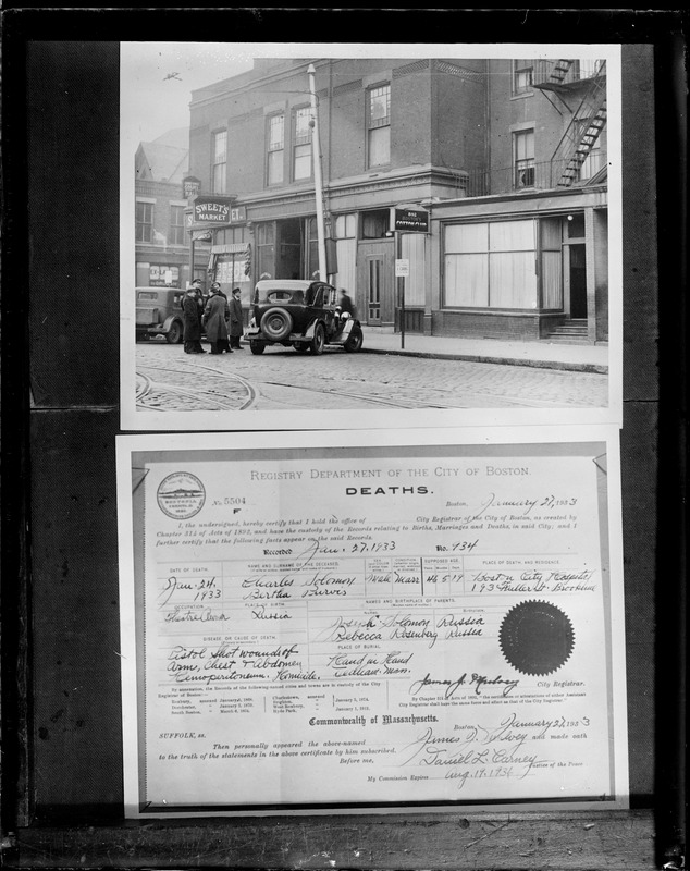 """King"" Solomon shooting. Top - Exterior of ""Cotton Club"" where Solomon was shot. Bottom: Charles Solomon - death certificate (JPJ)."