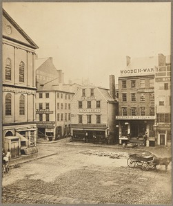 S.E. corner of Dock Square, Bos[ton] (Faneuil Hall at right)
