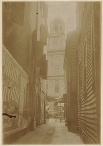 Old Bendall's Lane and tower of Faneuil Hall