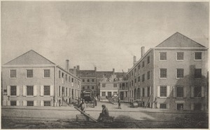 The northerly side of Bromfield Place (now Bromfield St.) in 1829. The building on the left is on the easterly corner of Province Street