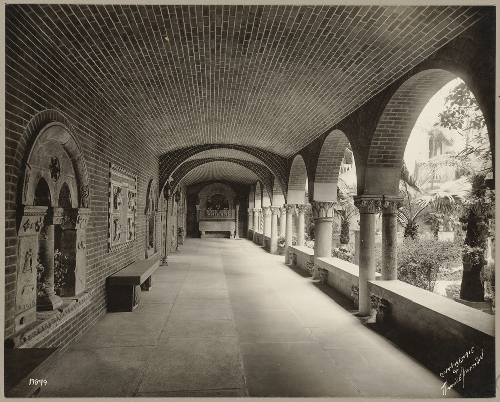 Boston. Fenway Court. Courtyard cloister. East walk, looking south