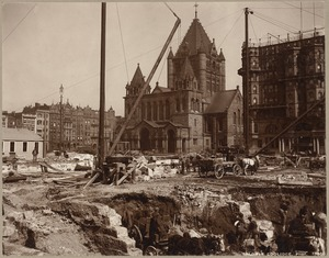 Boston, Massachusetts. Trinity Church, from site of old Museum of Fine Arts, 1911