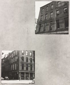 50 Franklin Street constructed 1873, Putnam & Tilden architects. Views of Hawley St. and Hawley Place facade. Taken prior to 1957 modernization by architect, Robert Bastille, Boston
