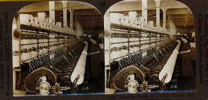 Doubling frame in a large woolen mill, Lawrence, Mass.