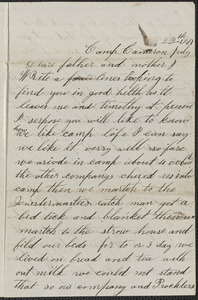 Letter from John Jubb, Camp Cameron, to Thomas Jubb, July 22, 1861