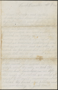 Letter from John Jubb, Camp Hamilton, to Thomas and Harriet Jubb, West Chelmsford, Mass., September 5, 1861