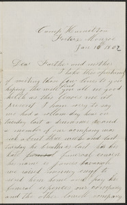 Letter from John Jubb, Camp Hamilton, Fortress Monroe, to Thomas and Harriet Jubb, January 16, 1862