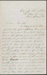 Letter from John Jubb, Camp Hamilton, Fortress Monroe, to Jabez Jubb, West Chelmsford, Mass., February 3, 1862