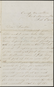 Letter from John Jubb, Camp Hamilton, Fort Monroe Va., to Thomas Jubb, West Chelmsford, Mass., February 9, 1862