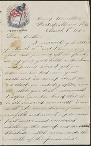 Letter from John Jubb, Camp Hamilton, Fortress Monroe Va., to William Jubb, West Chelmsford, Mass., March 9, 1862
