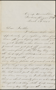 Letter from John Jubb, Camp Hamilton, Fortress Monroe Va., to Thomas Jubb, West Chelmsford, Mass., March 29, 1862