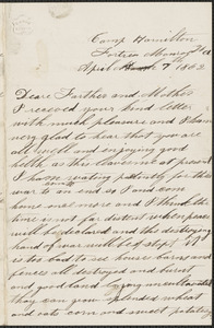 Letter from John Jubb, Camp Hamilton, Fortress Monroe Va., to Thomas and Harriet Jubb, West Chelmsford, Mass., April 7, 1862