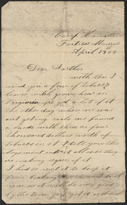 Letter from John Jubb, Camp Hamilton, Fortress Monroe, to Thomas Jubb, April 19, 1862