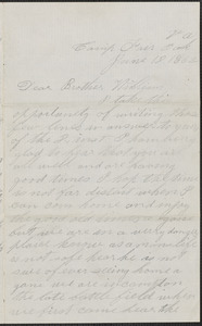 Letter from John Jubb, Camp Fair Oak Va., to William Jubb, West Chelmsford, Mass., June 18, 1862