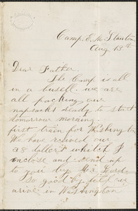 Letter from William Jubb, Camp E.M. Stanton, to Thomas Jubb, West Chelmsford, Mass., August 13, [1862]