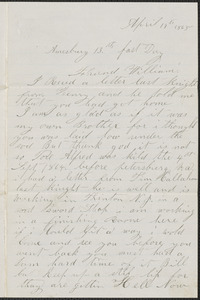 Letter from James Jackson, Amesbury [Mass.], to William Jubb, West Chelmsford, Mass., April 13, 1865