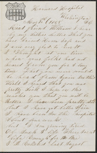 Letter from James E. Curtis, Harward Hospital, Washington D.C., to William Jubb, West Chelmsford, Mass., May 10, 1865