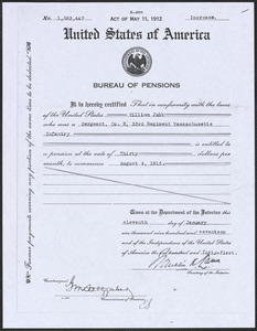 Federal pension document, 1917
