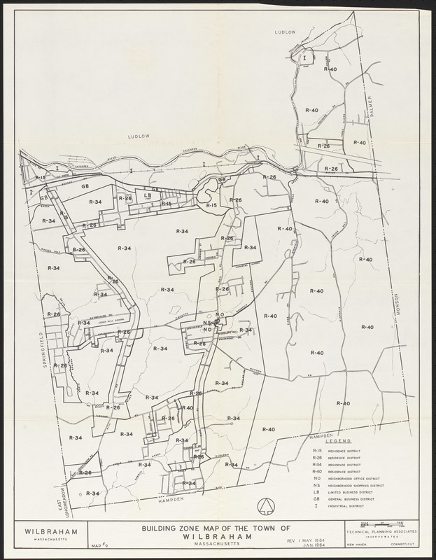 Building zone map of the town of Wilbraham, Massachusetts