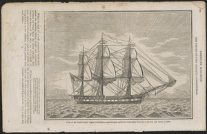 View of the United States' frigate Constitution, engraved upon a piece of wood, taken from one of her live oak knees, in 1833