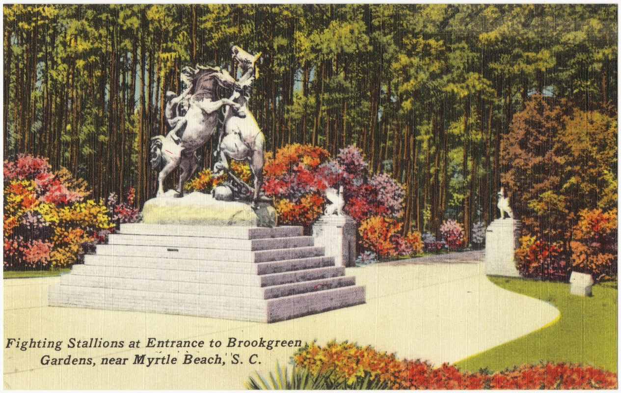 Fighting Stallions at entrance to Brookgreen Gardens, near Myrtle ...