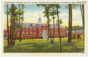 Administration building from the terrace, Cushing General Hospital, Framingham, Mass.