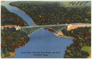 Aerial view of French King Bridge and rock, Greenfield, Mass.