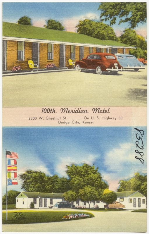 100th Meridian Motel, 2300 W. Chestnut St., on U. S. Highway 50, Dodge City, Kansas