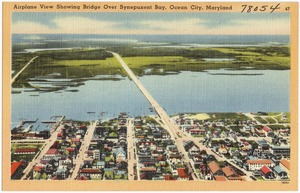 Airplane view showing bridge over Synepuxent Bay, Ocean City, Maryland