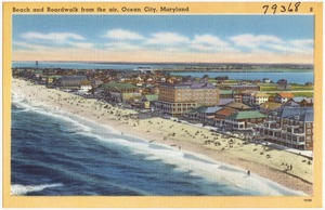 Beach and boardwalk from the air, Ocean City, Maryland
