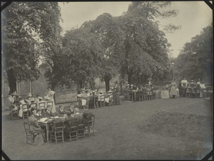 "Classes on ""The Mount"" Lawn, The Royal Normal College for the Blind, England"