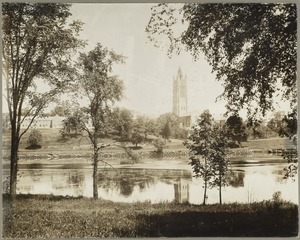 Campus of Perkins School for the Blind from banks of Charles River