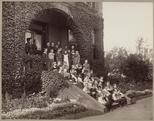 Children on the Steps of the Kindergarten for the Blind
