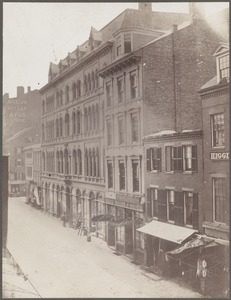 Boston, Massachusetts. Hanover Street, north side, from Portland Street. Building on right of picture removed in extension of Washington St.