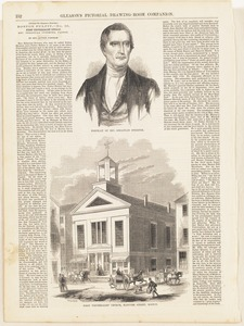 Portrait of Rev. Sebastian Streeter ; First Universalist Church, Hanover Street, Boston